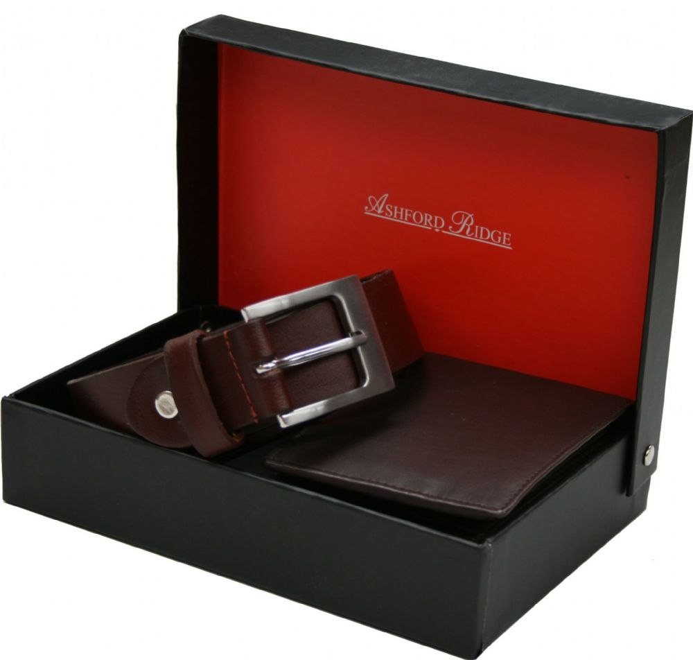 Ashford Ridge Full Hide Belt & Wallet Gift Set